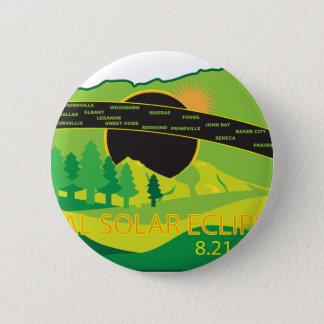 オレゴン都市地図を渡る2017総日食 5.7CM 丸型バッジ