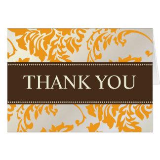 オレンジおよびチョコレートダマスク織はメッセージカード感謝していしています カード
