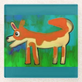 オレンジおよびティール(緑がかった色)のオオカミの子供の引くこと ガラスコースター