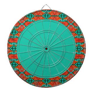 オレンジおよびティール(緑がかった色)の東洋の敷物パターンダート盤 ダーツボード