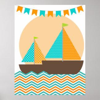 オレンジおよびティール(緑がかった色)の航海のなヨットの子供部屋ポスター ポスター