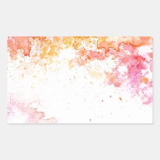 オレンジおよびピンクの水彩画インクパターン 長方形シール