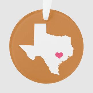 オレンジおよびピンクの燃やされるハートのテキサス州の故郷の州 オーナメント
