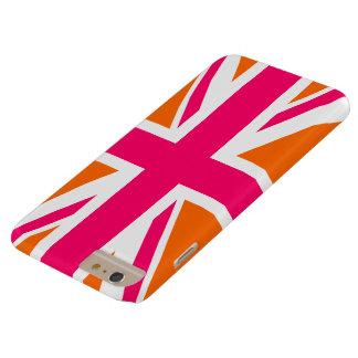 オレンジおよびピンクの英国国旗 BARELY THERE iPhone 6 PLUS ケース