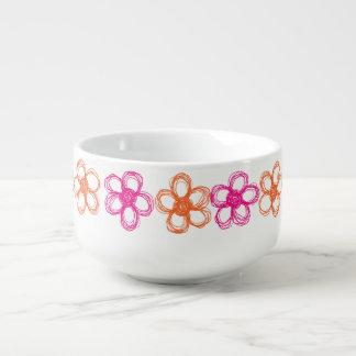 オレンジおよびピンクの野生花 シチューカップ