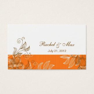 オレンジおよびブラウンのエレガントな結婚式の名刺 名刺