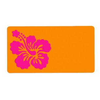 オレンジおよび濃いピンクのハイビスカス ラベル