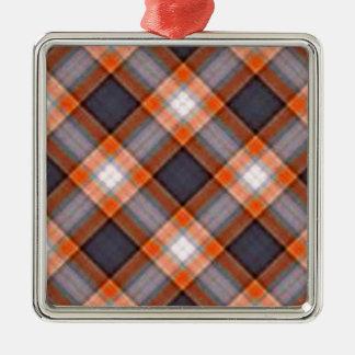 オレンジおよび濃紺の格子縞 メタルオーナメント