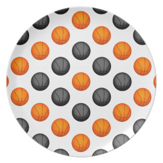 オレンジおよび灰色のバスケットボールパターン プレート