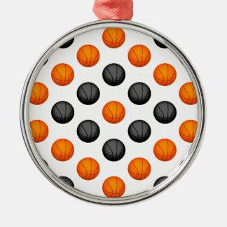 オレンジおよび灰色のバスケットボールパターン メタルオーナメント