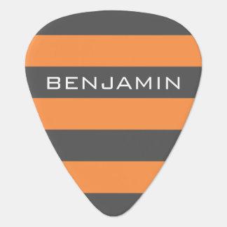 オレンジおよび灰色のラグビーは名前をカスタムすると縞で飾ります ギターピック