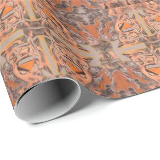 オレンジおよび灰色の抽象芸術で遠い ラッピングペーパー