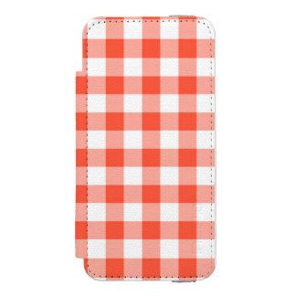 オレンジおよび白いギンガムの点検パターン INCIPIO WATSON™ iPhone 5 財布 ケース