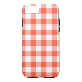 オレンジおよび白いギンガムの点検パターン iPhone 8/7ケース