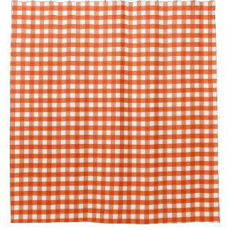 オレンジおよび白いギンガムパターン シャワーカーテン