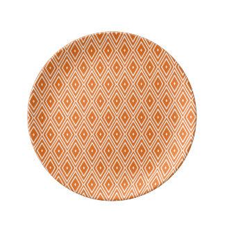 オレンジおよび白いダイヤモンドのデザイン 磁器プレート