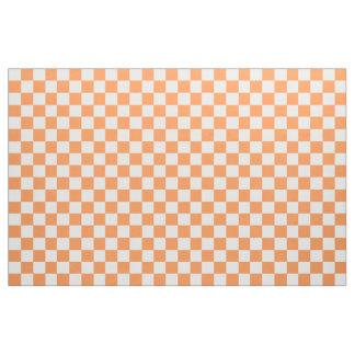 オレンジおよび白いチェック模様の生地 ファブリック