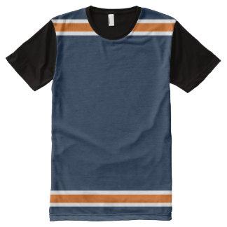 オレンジおよび白いトリムが付いている青 オールオーバープリントT シャツ
