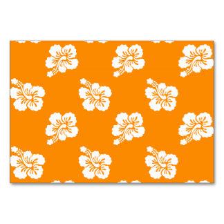 オレンジおよび白いハワイのハイビスカスの花柄パターン カード