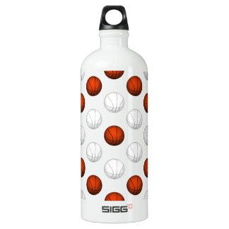 オレンジおよび白いバスケットボールパターン ウォーターボトル