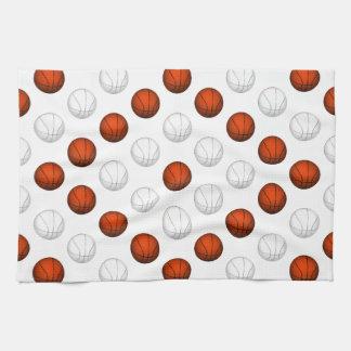 オレンジおよび白いバスケットボールパターン キッチンタオル