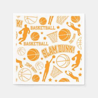 オレンジおよび白いバスケットボールパターン スタンダードカクテルナプキン