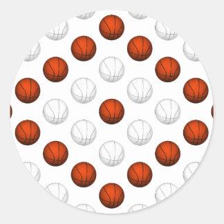 オレンジおよび白いバスケットボールパターン ラウンドシール