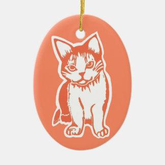 オレンジおよび白い猫の楕円形のオーナメント セラミックオーナメント