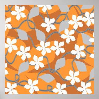 オレンジおよび白い花。 花パターン ポスター