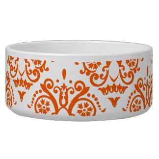 オレンジおよび白くエレガントなダマスク織