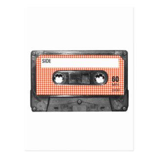 オレンジおよび白く千鳥格子のなラベルカセット ポストカード
