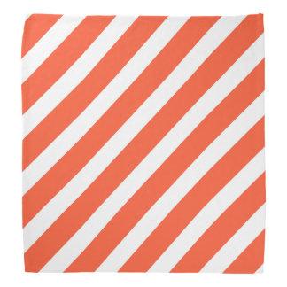 オレンジおよび白のストライプのレトロパターン バンダナ
