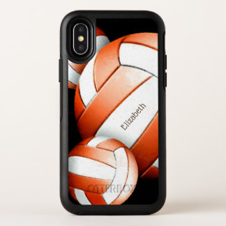 オレンジおよび白人女性のバレーボールのカスタム オッターボックスシンメトリー iPhone X ケース