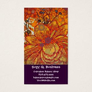 オレンジおよび紫色の花のモダンなポップアート 名刺