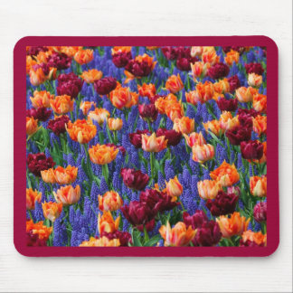オレンジおよび紫色の花/チューリップのマウスパッド マウスパッド