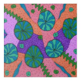 オレンジおよび紫色の芸術のプリントのレトロの海の庭 アクリルウォールアート