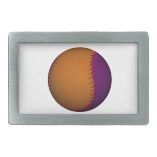 オレンジおよび紫色の野球 長方形ベルトバックル