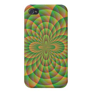 オレンジおよび緑の万華鏡のように千変万化するパターン iPhone 4 カバー