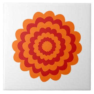オレンジおよび赤いのファンキーな花 タイル
