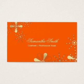オレンジおよび金ゴールドの花のインディアンによってインスパイアデザイン 名刺