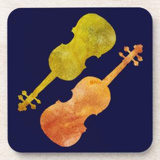 オレンジおよび金バイオリン コースター