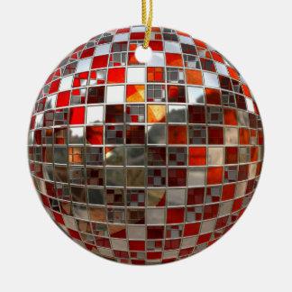 オレンジおよび銀製のディスコの球の鏡のオーナメント セラミックオーナメント
