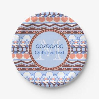 オレンジおよび青のストライプのなアズテック派のパターンモノグラム ペーパープレート