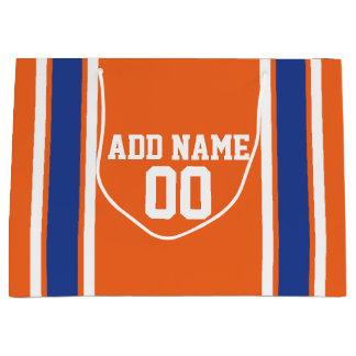 オレンジおよび青の名前入りなスポーツジャージー ラージペーパーバッグ