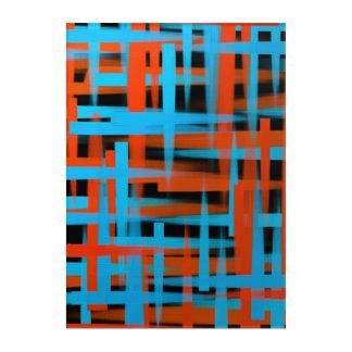 オレンジおよび青の抽象的な油のブラシの打撃 アクリルウォールアート