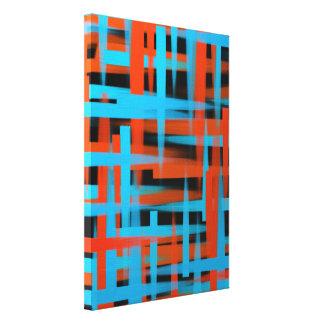 オレンジおよび青の抽象的な油のブラシの打撃 キャンバスプリント