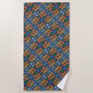 オレンジおよび青の花パターン ビーチタオル