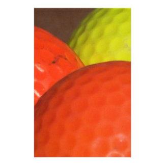 オレンジおよび黄色のゴルフ・ボール 便箋