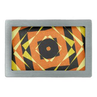 オレンジおよび黄色のストライプのなダイヤモンドパターン 長方形ベルトバックル