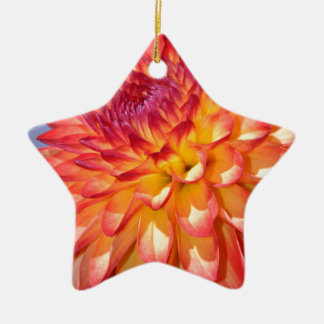 オレンジおよび黄色のダリア 陶器製星型オーナメント